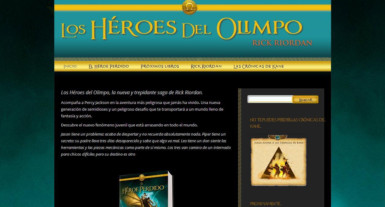 Captura de pantalla de www.rickriordan.es