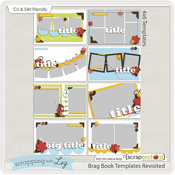 http://scraporchard.com/market/Brag-Book-Digital-Scrapbook-Templates.html