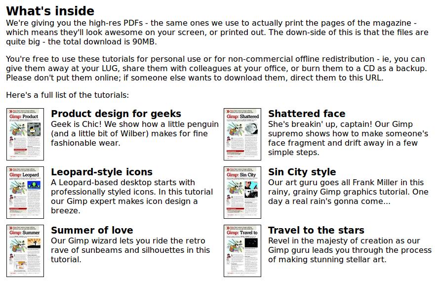 Bundel ebook tentang GIMP dari Tuxradar