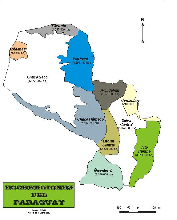 New Ecoregion Map For Paraguay National Parks Of Paraguay - Map of paraguay