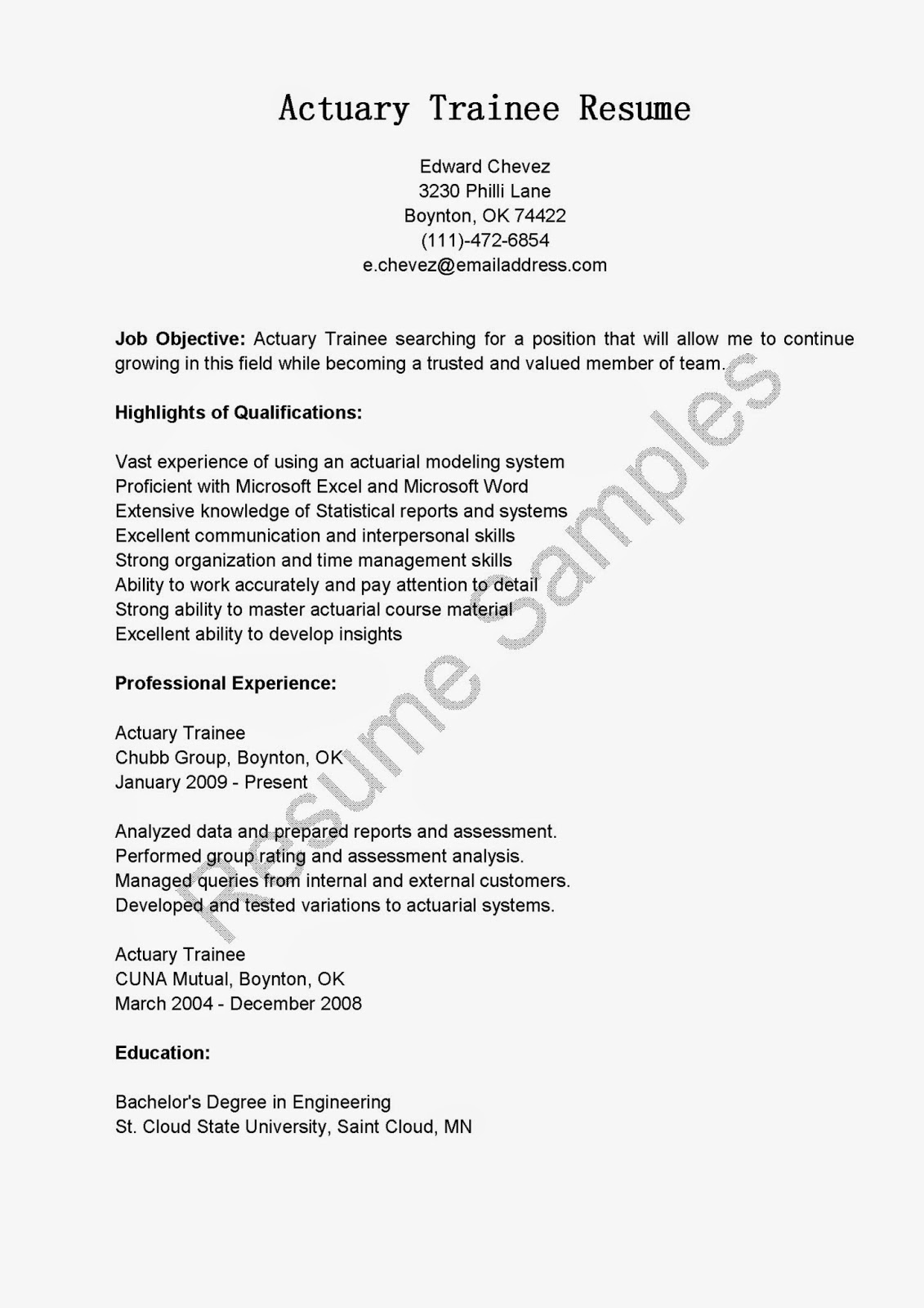 sample actuarial resume resume samples actuary trainee sample entry level