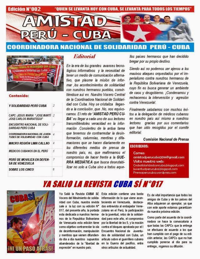 "BOLETÍN N°002 ""AMISTAD PERÚ CUBA"""