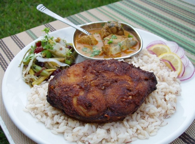 Sizzling indian recipes oven broiled king mackerel steak oven broiled king mackerel steak green wax beans stir fry with cranberries basil and fresh coconut served with kerala matta rice king mackerel forumfinder Choice Image