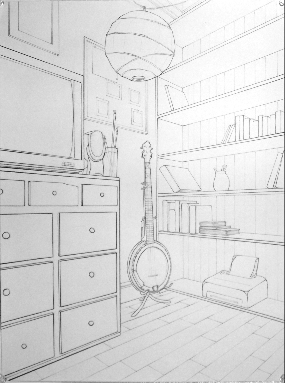 Basic drawing 1 examples of 2 point interiors for Living room 2 point perspective