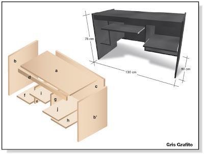 Como hacer plano muebles de melamina escritorio para pc for Planos de escritorios