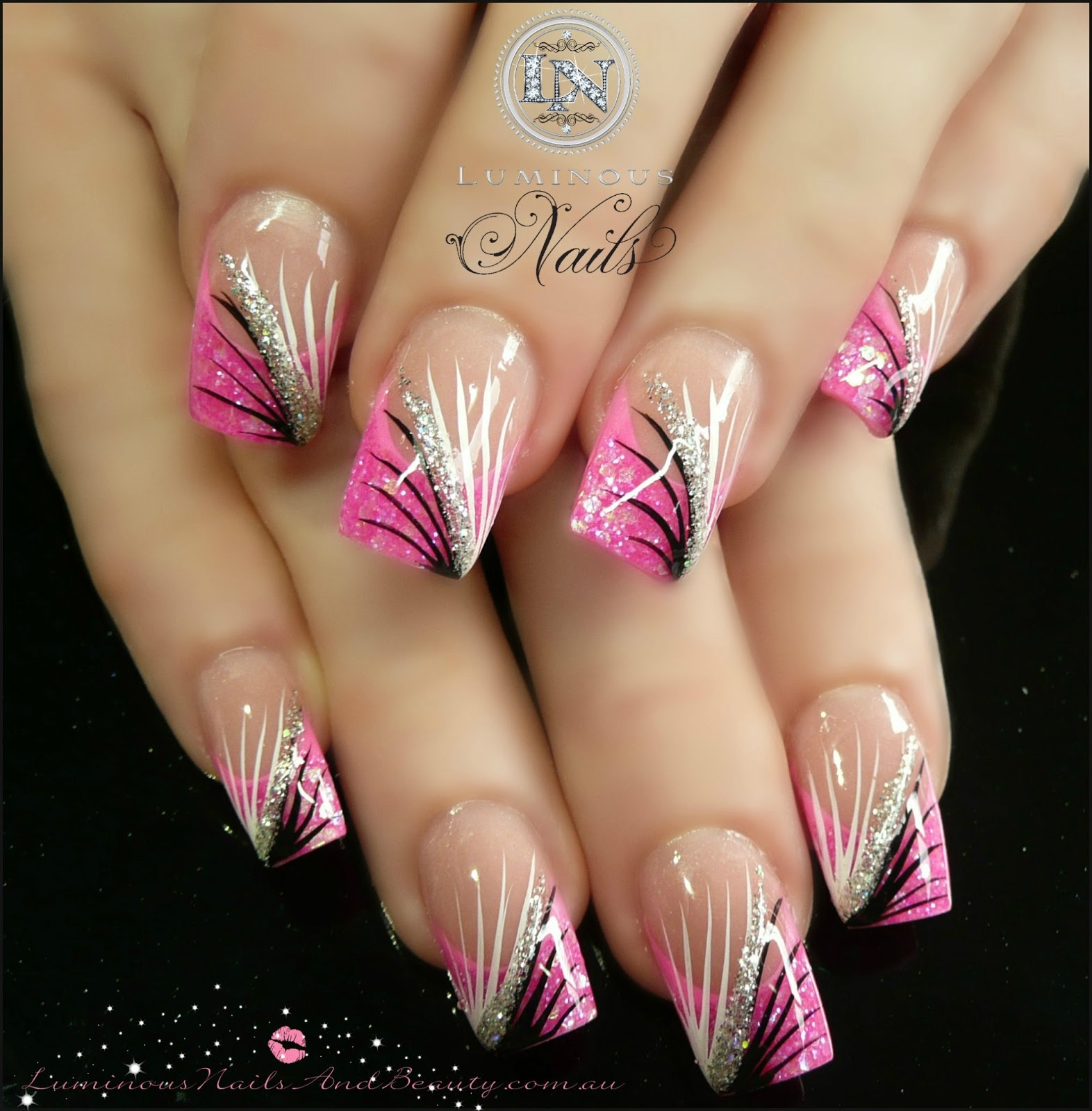 Pink white and gold nail design nail art pink gold black and view images hot pink black white silver nails prinsesfo Choice Image