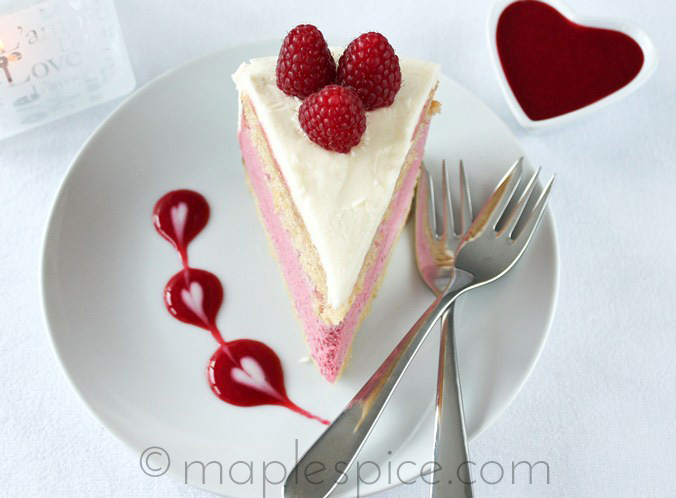 VEGAN Raspberry White Chocolate Mousse Cake.