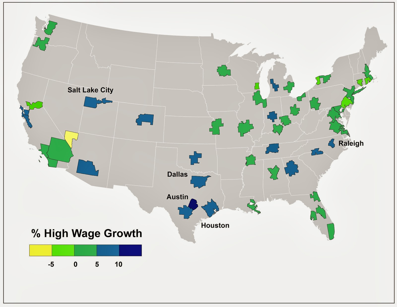 this map shows the distribution of high wage jobs in metros