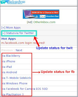 Update Status Twitter dan FB via i-Phone BB