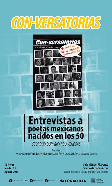 """Presentación del libro """"Con-versatorias"""" de Ricardo Venegas en Bellas Artes"""