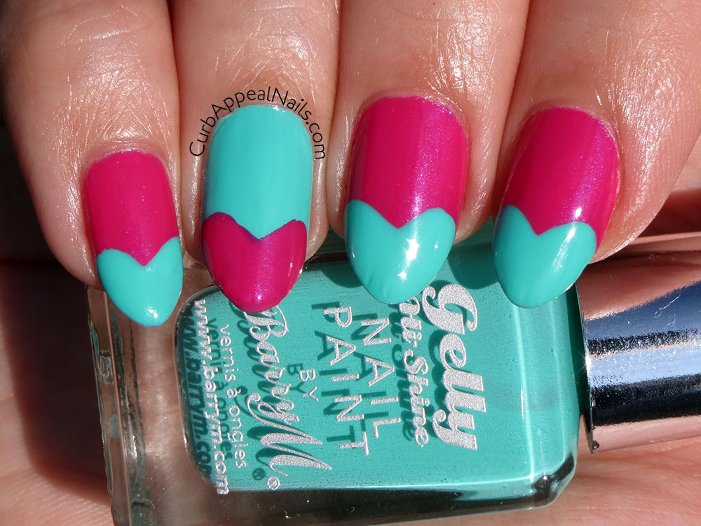 Funky French Hearts with Barry M Green Berry and Sally Hansen Flashy Fuschia