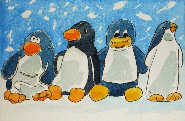 Ink and watercolour Christmas penguins