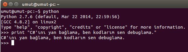 Ubuntu'da Pyton Etkileşimli Kabuk