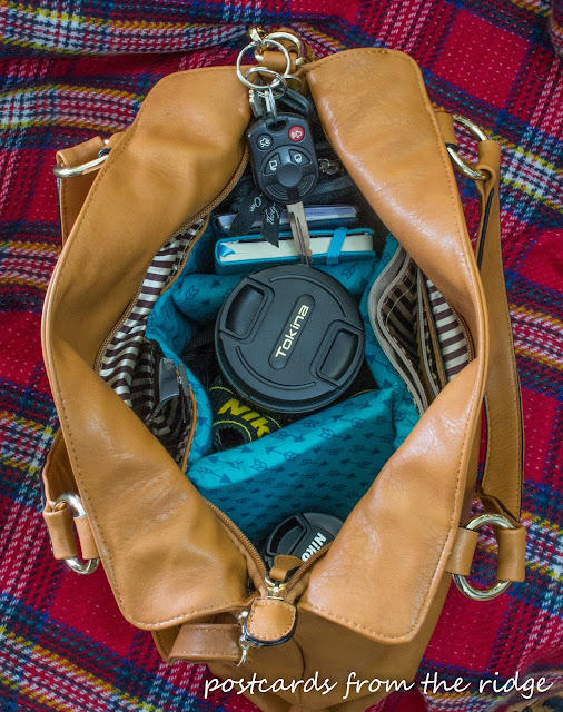 Padded interior of designer camera bag