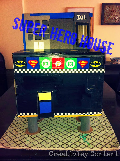 Creatively Content Cardboard Super Hero House Tour