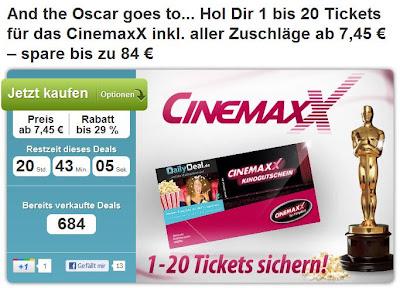 XXL-Kino-Gutschein bei DailyDeal: 20 Coupons für CinemaxX für 126 Euro (weitere Optionen)