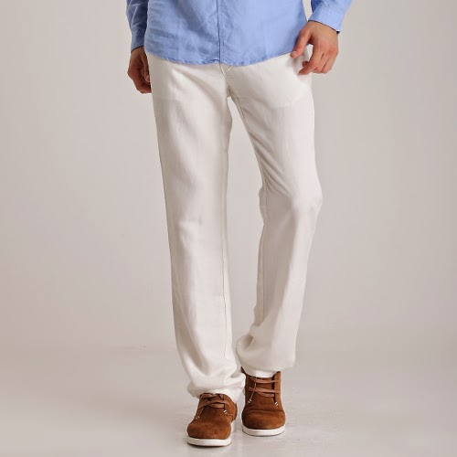 Men's White Linen Pants