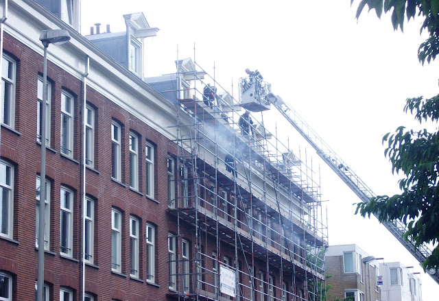 Smoke from a building in Amsterdam