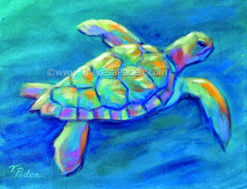 Colorful Acrylic Sea Turtle Paintings