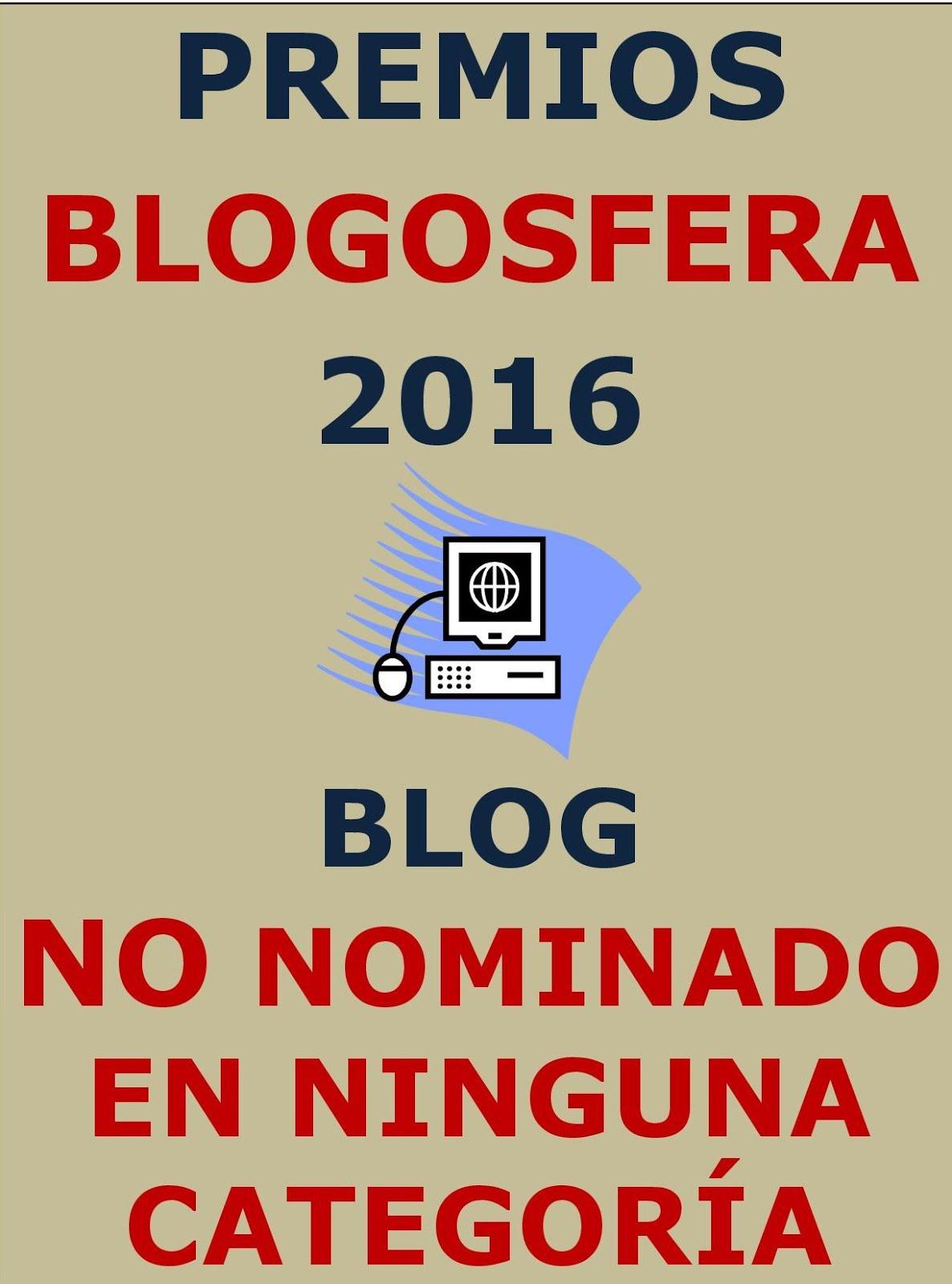 Blog NO nominado a ningún premio en categoría alguna. Navegación tranquila. A tu aire.