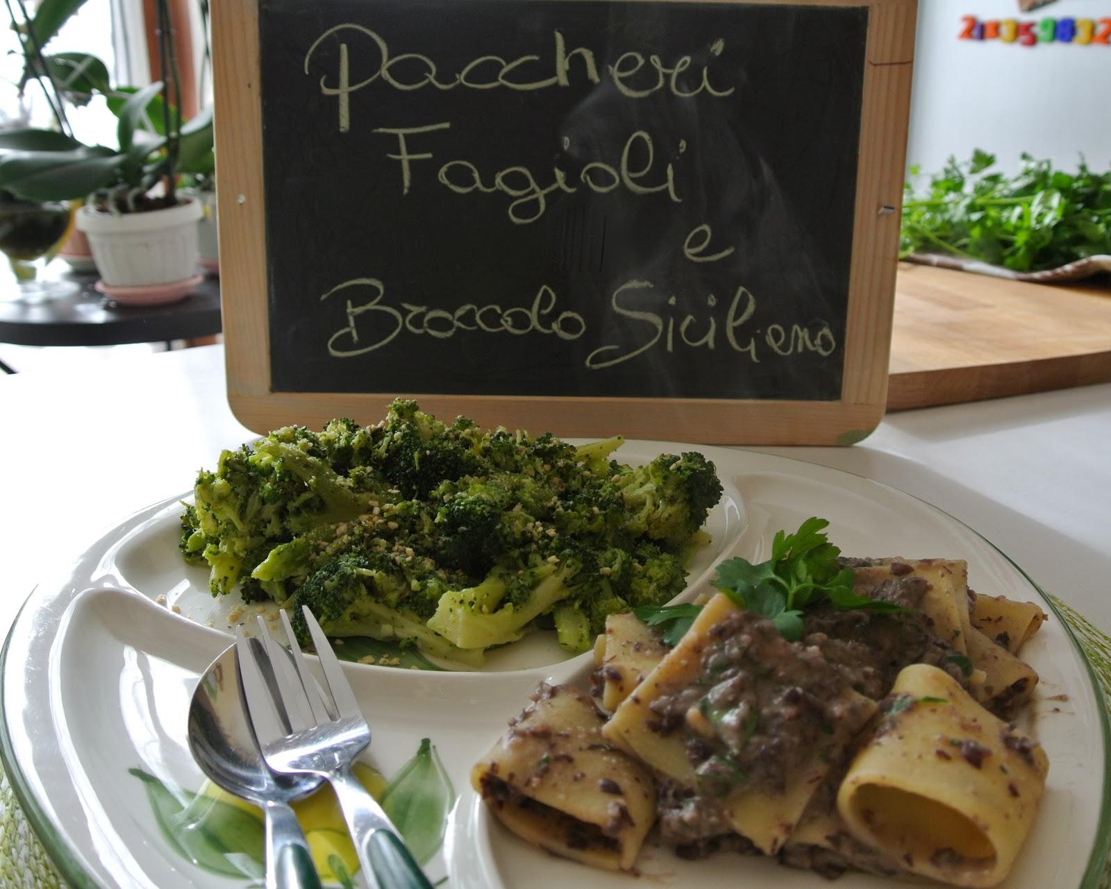 paccheri, fagioli azuki e broccoli siciliani