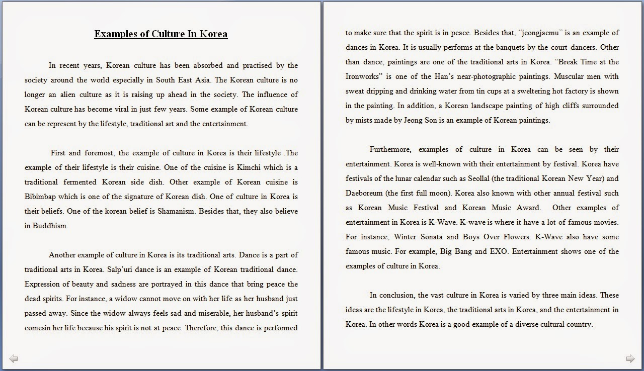 i am shazleen we thought that korea can give us a lot of example especially in terms of their culture overall we had few grammatical mistakes but overall the essay is