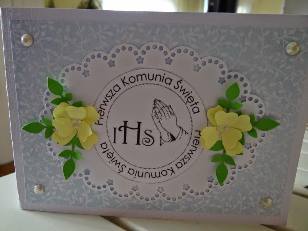 Pamiątka Pierwszej Komunii Świętej, kartka ręcznie robiona