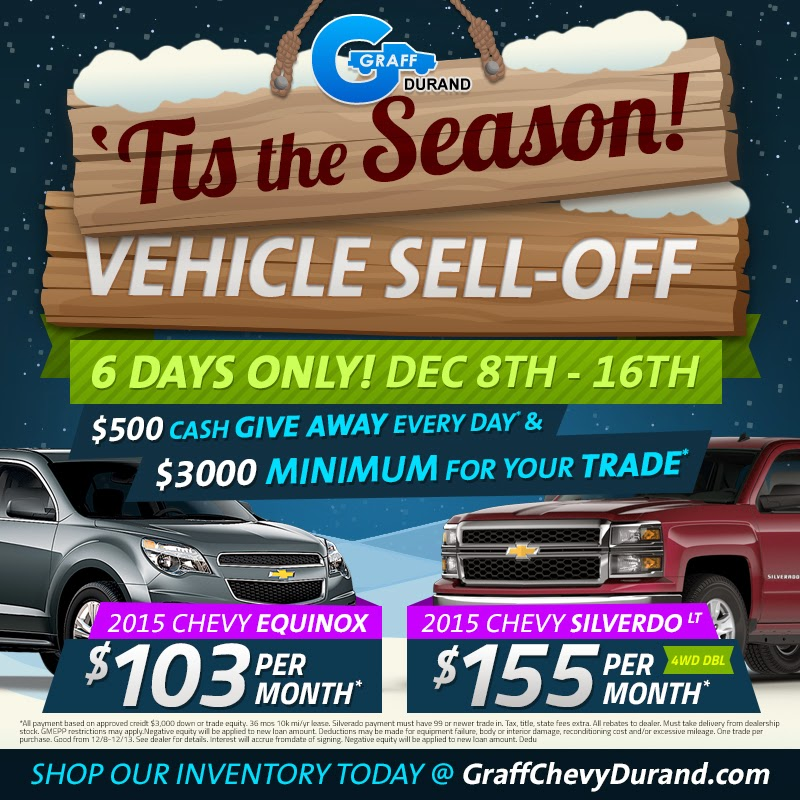 'Tis the Season Vehicle Sell-Off at Graff Chevrolet Durand!