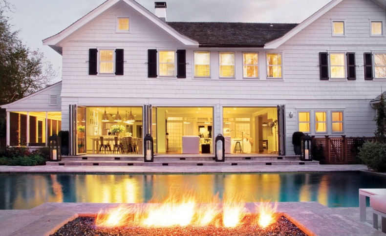 Poolside view of the East Hampton beach house