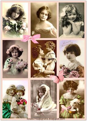 collage vintage con fotos de niñas antiguas