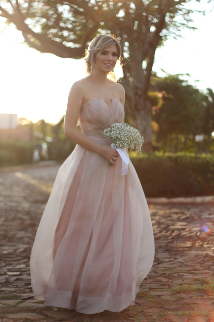 Vestido longo rosa antigo