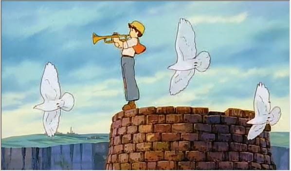 毎朝トランペットを吹くのが日課のパズー