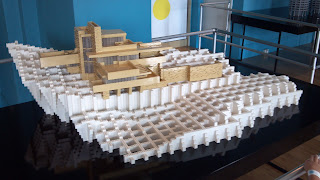 large model of falling water by frank lloyd wright using legos
