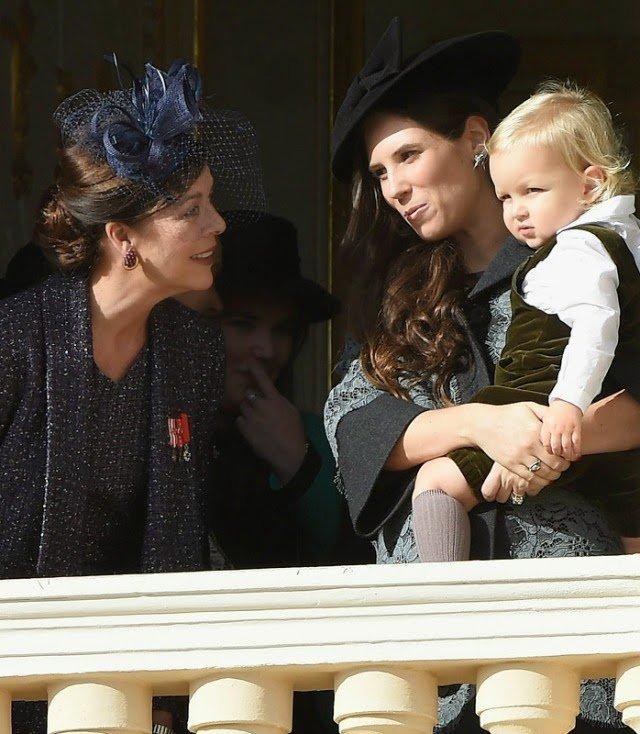 Princess Caroline of Hanover, Sacha Casiraghi and Princess Stephanie, of Monaco attend the balcony parade during the Monaco National day