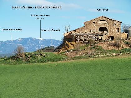 Cal Torres amb la Serra d'Ensija-Rasos de Peguera com a teló de fons