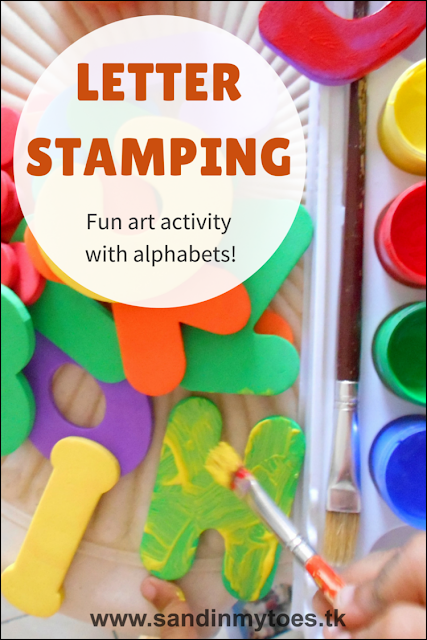Using letters to paint and stamp with in this art activity for kids.