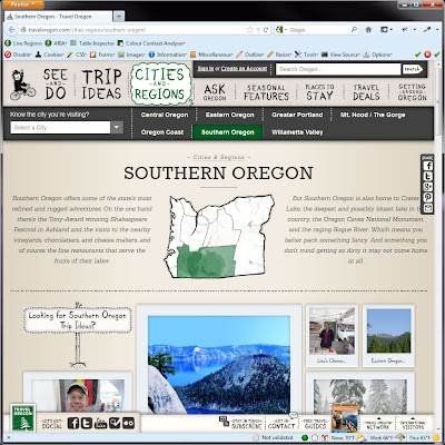 Screen shot of http://traveloregon.com/cities-regions/southern-oregon/.