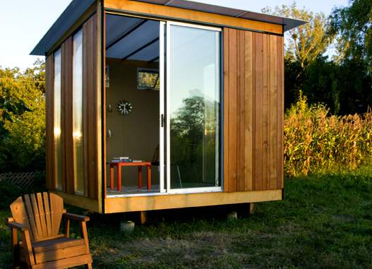 Five cool tiny house cabin shed hut for Modern office shed