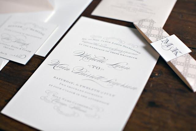 Gray Letterpress Wedding Invitation