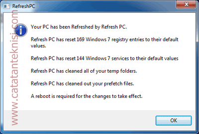 refresh pc reset windows seting to default