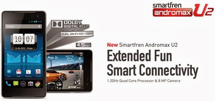 Smartfren Andromax U2 HP Jelly Bean Quad Core harga dibawah 2 juta