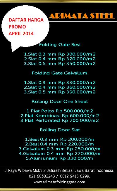 Daftar Harga Folding  Gate bandung
