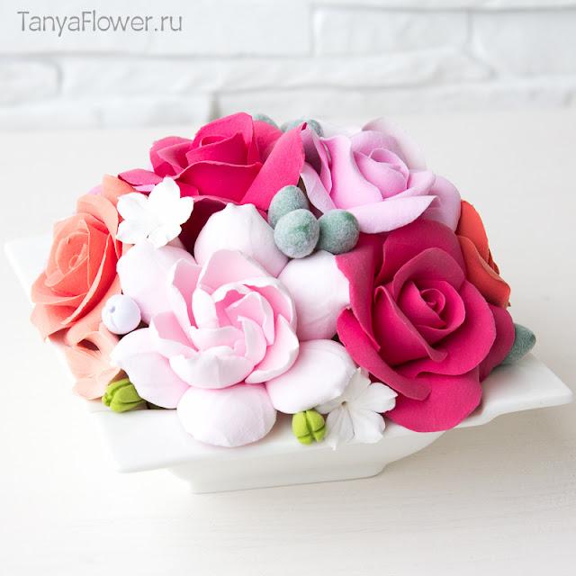 цветы ручной работы из глины