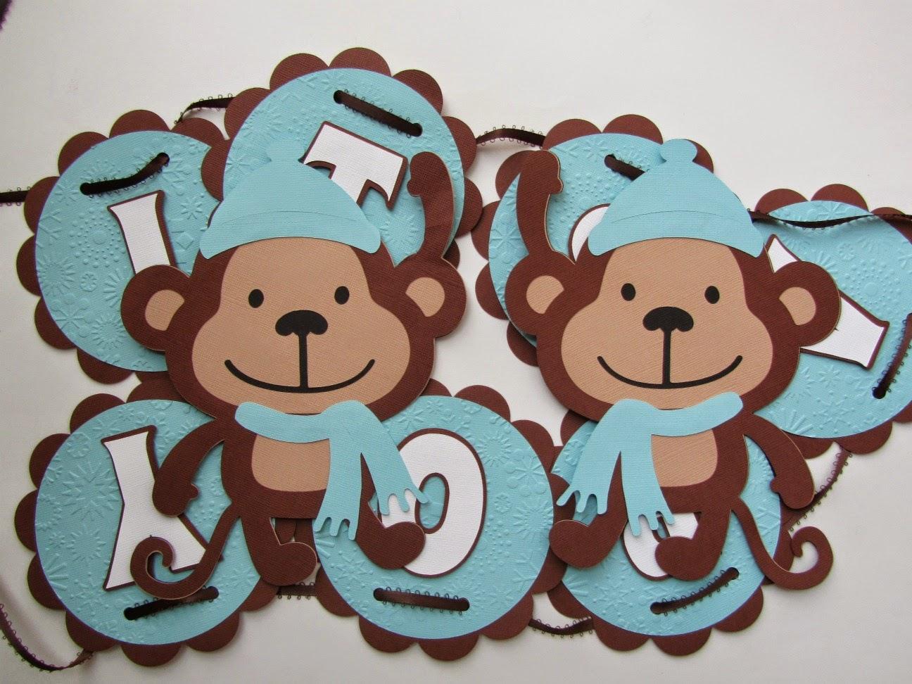 Jingvitations cricut monkey baby shower banner - Baby shower monkey pictures ...