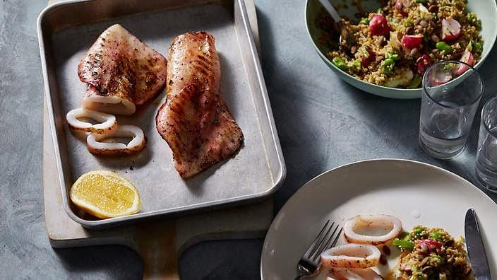 Sumac Spiced Calamari With Freekeh, Preserved Lemon And Broad Bean Salad Recipe
