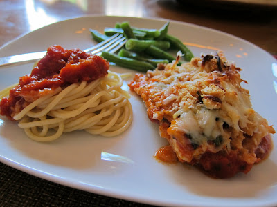 Herbed Chicken Parmesan with pasta and green beans