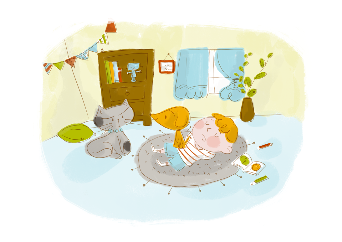 cat, dog, pets, children, illustration, ilustración, sleeping, durmiendo