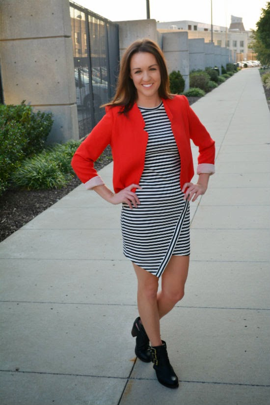 edgy boots + red blazer