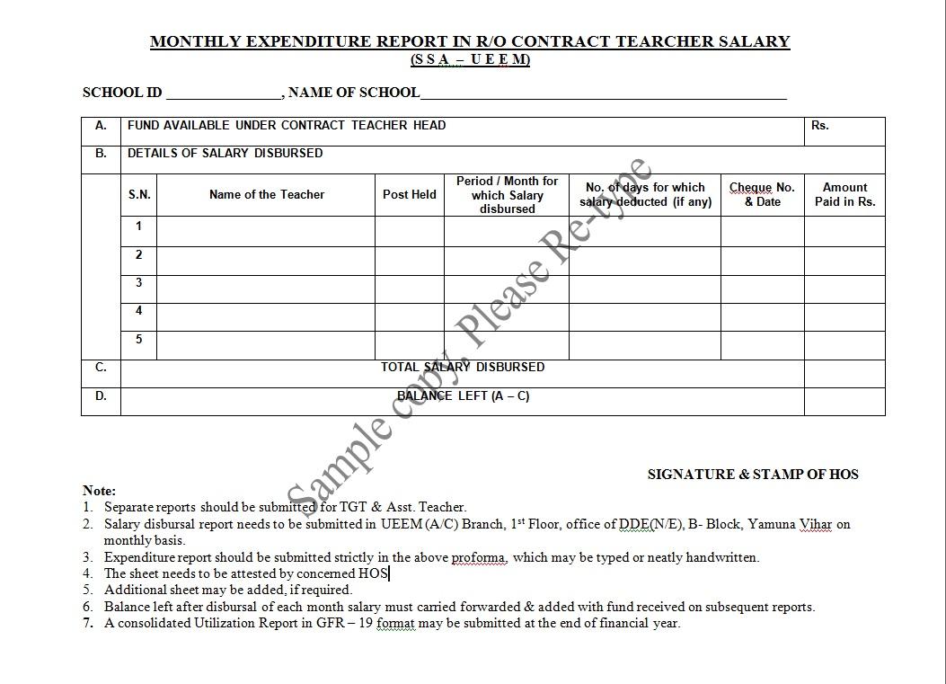 sarv siksha abhiyan ssa contract teacher salary format