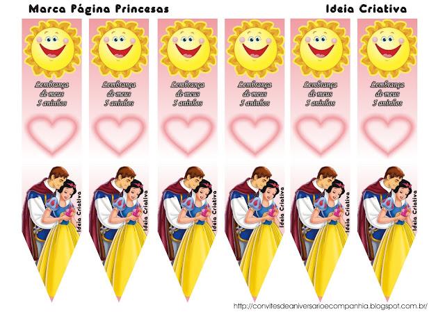 Marca Página Princesas Disney Lembrancinha de 5 Anos
